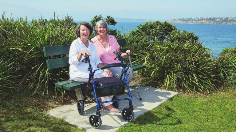 disable lady with Rollator Walker and Adjustable Walking Sticks