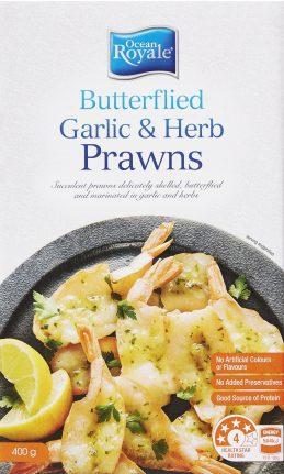 Frozen Butterfield Herb And Garlic Prawns