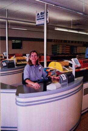 ALDI store employee at the Bankstown Airport grand opening 2001